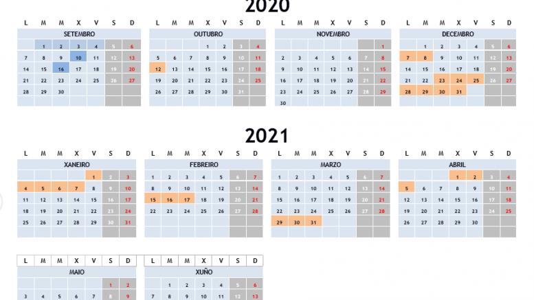 Calendario curso 2020-2021